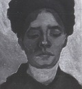 womans head with dark coif, nuenen