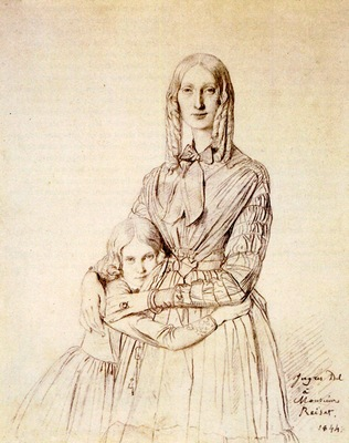 Ingres Madame Frederic Reiset born Augustine Modeste Hortense Reiset and her daughter Therese Hor