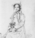 Ingres Mademoiselle Henriette Ursule Claire maybe Thevenin and her dog Trim