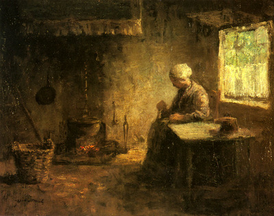 Israels Josef Peasant Woman By A Hearth