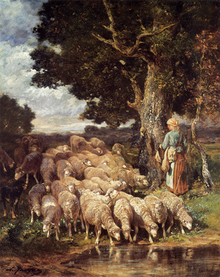 Jacque CE A Shepherdess with her Flock near a Stream