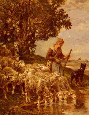 Jacque Charles Emile A Shepardess Watering Her Flock