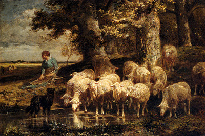 Jacque Charles Emile A Shepherdess With Her Flock