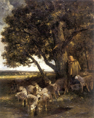 Jacque Charles Emile A Shepherdess with Her Flock by a Pool