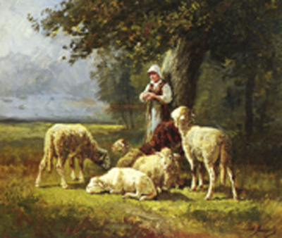 Jacque Charles Emile French 1813 to 1894 A Shepherdess With Her Flock In A Woodland Clearing O