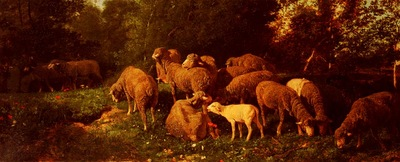 Jacque Charles Emile Les Moutons Dans Le Sous Bios