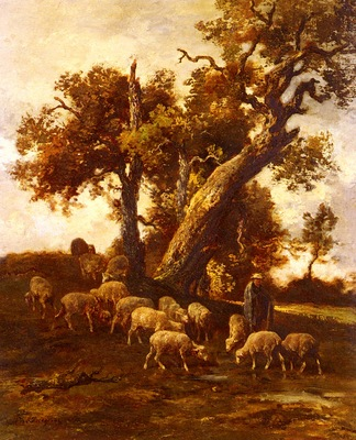 Jacque Charles Emile Sheep At Pasture
