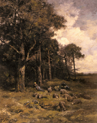 Jacque Charles Emile Shepherdess Resting With Her Flock