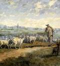 Jacque Charles Emile Landscape With A Flock Of Sheep