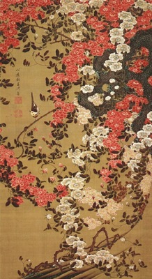 jakuchu wagtail and roses c1757