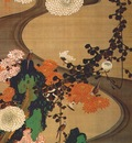 jakuchu birds and chrysanthemums by a stream c1765