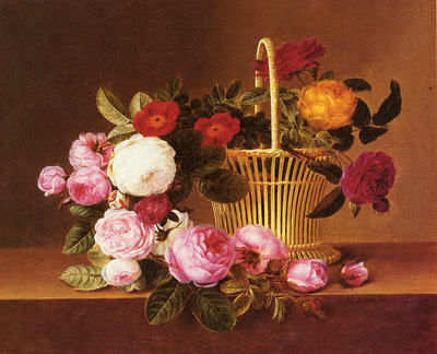 jensen johan laurentz danish 1800 to 1856 a basket of roses on a ledge snd 1825 o c 35 6 by