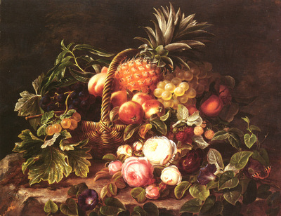 jensen johan laurentz danish 1800 to 1856 a still life of a basket of fruit and roses snd
