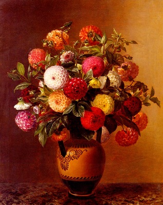 Jensen Johan Laurentz Still Life Of Dahlias In A Vase