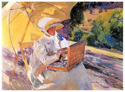 ls Sorolla 1907 Maria pintando en El Pardo