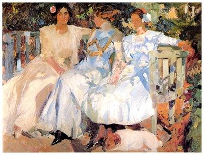 ls Sorolla 1910 Mi mujer y mis hijas en el jardin
