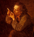 Johnson Eastman Lighting His Pipe