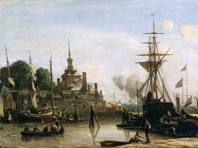 Jongkind Johan Barthold View on harbour Rotterdam Sun