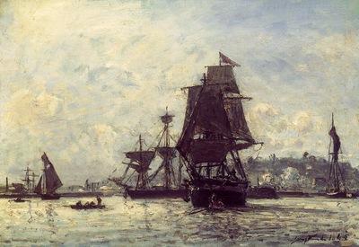 Jongkind Johan Berthold Sailing Ships at Honfleur