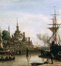 Jongkind Johan Barthold View on harbour Rotterdam Sun