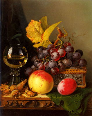 Ladell Edward A Still Life Of Black Grapes
