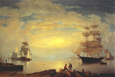 lane gloucester harbor at sunrise c1850s