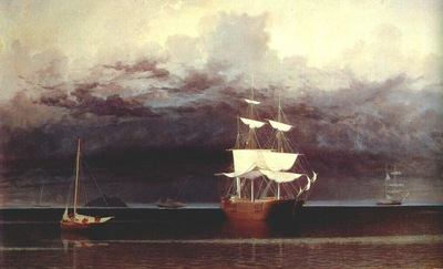 lane ships and an approaching storm off camden, maine