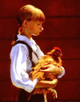 Larson Jeffrey 1999 Girl With Chicken 16by20in
