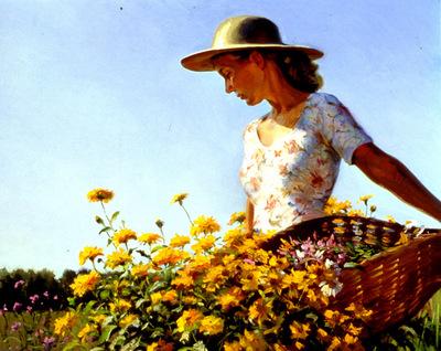 Larson Jeffrey 2000 Women In Garden 24by30in