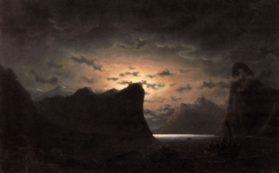 Larson Marcus Fishing Near The Fjord By Moonlight