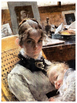 ls Larsson 1885 Studio Idyll pastel