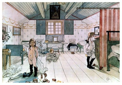 ls Larsson 1894 97 Mamas and the little girls room watercolor
