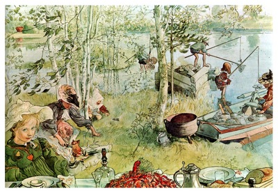 ls Larsson 1894 97 The Crayfish Season Opens watercolor