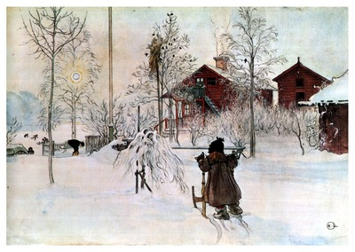 ls Larsson 1894 97 The Front Yard and the Wash House watercolor