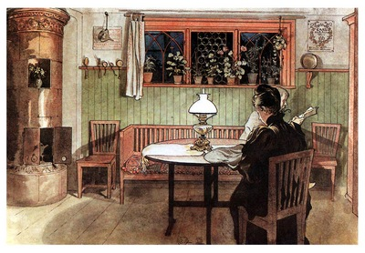 ls Larsson 1894 97 When the children have gone to bed watercolor