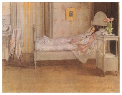 ls Larsson 1899 Convalescence watercolor