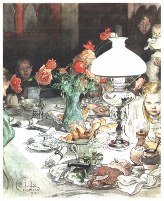 ls Larsson 1900 Around the lamp at evening watercolor