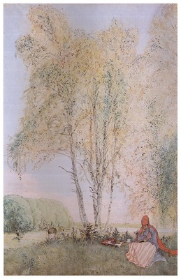 ls Larsson 1902 Under the Birches watercolor