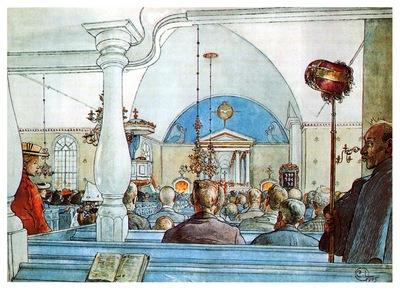 ls Larsson 1905 At Church watercolor