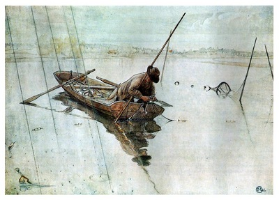 ls Larsson 1905 Fishing watercolor