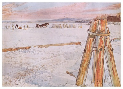 ls Larsson 1905 Harvesting Ice watercolor