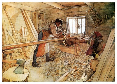 ls Larsson 1905 In the Carpenter Shop watercolor