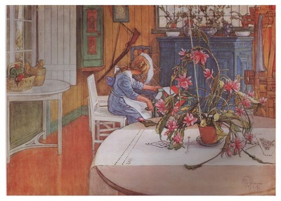 ls Larsson 1914 Interior with cactus watercolor