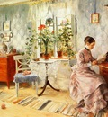 Larsson Carl An Interior with a Woman Reading