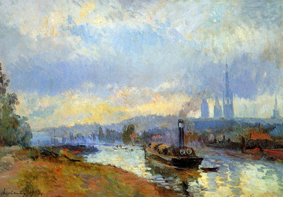 Lebourg Albert Charles Tow boats in Rouen Sun