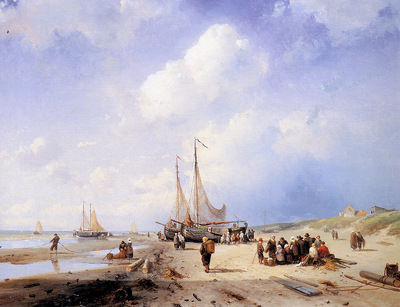 Leickert Charles Coastal scene with fisherfolk Sun