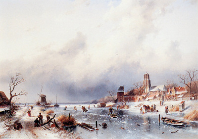 Leickert Charles Dutch winter scene Sun