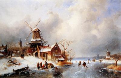 Leickert Charles Dutch winter scene
