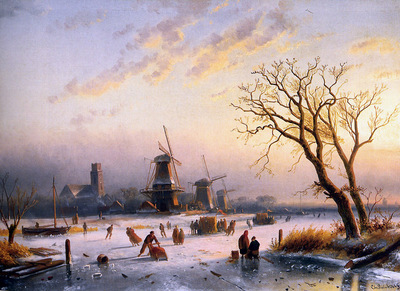 Leickert Charles Henri Winterlandscape Sun