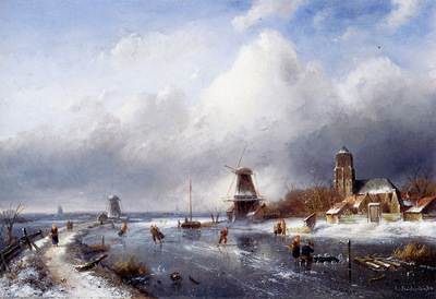 Leickert Charles Henri Winterlandscape with scaters Sun